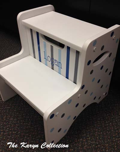 2-Step Stool - Logan Dots and Stripes