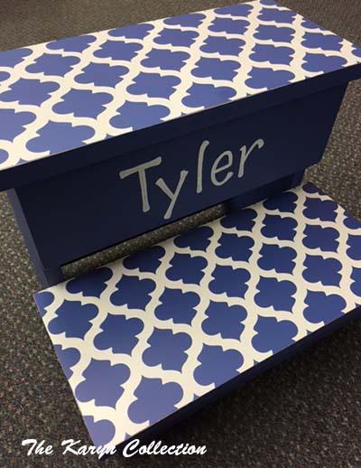 2-Step Stool - Dark Blue Trellis