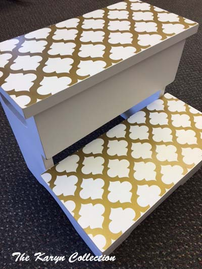 2-Step Stool - Gold Trellis