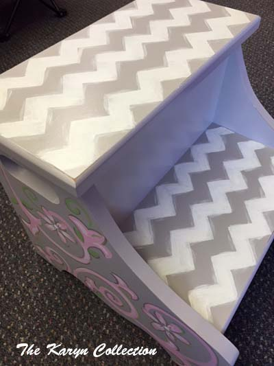 Gray Chevron 2 Step Stool with Pink