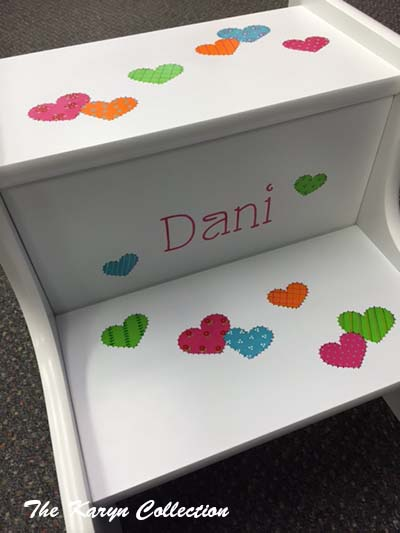 Dani's 2-Step Stool in hot pastel patchwork hearts