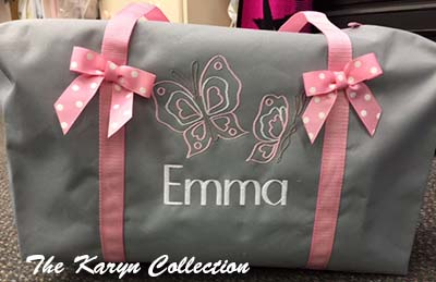 Emma's Gray Suitcase with Butterflies