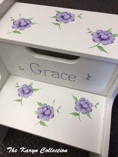 Grace's 2-Step Stool in pansies