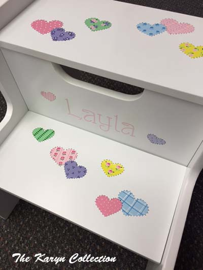 Layla's Patchwork Hearts 2-Step Stool