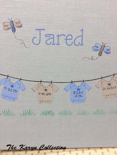 Light Blue Linen Baby Book