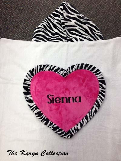 Sienna's Jumbo Heart Zebra Towel