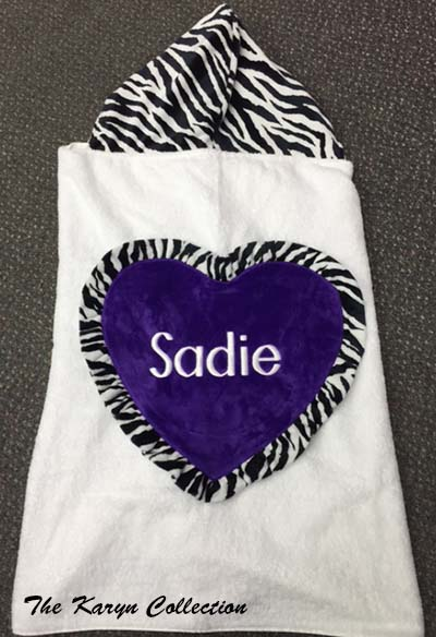 Sadie's Purple Jumbo Heart Zebra Towel