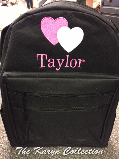 Taylor's Black Backpack with Hearts