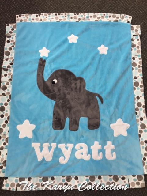 Wyatt's Elephant and Stars Minky Blanket