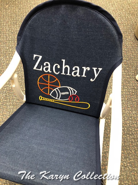 Zachary's All Sports Rocker shown on the dark denim seat