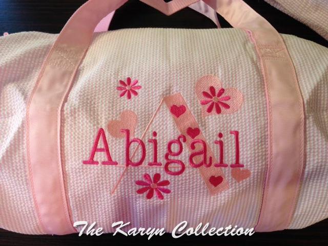 Abigail pink seersucker duffle