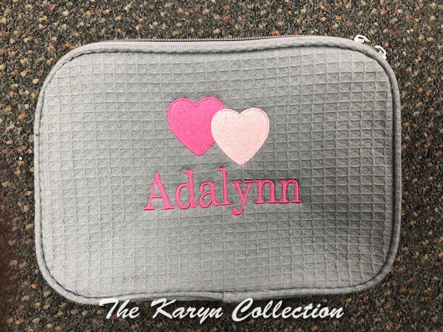 Adalynn's gray Waffle Bag with 2 Hearts