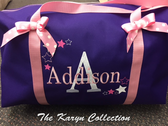 Addison Purple with Pink Bows Duffle