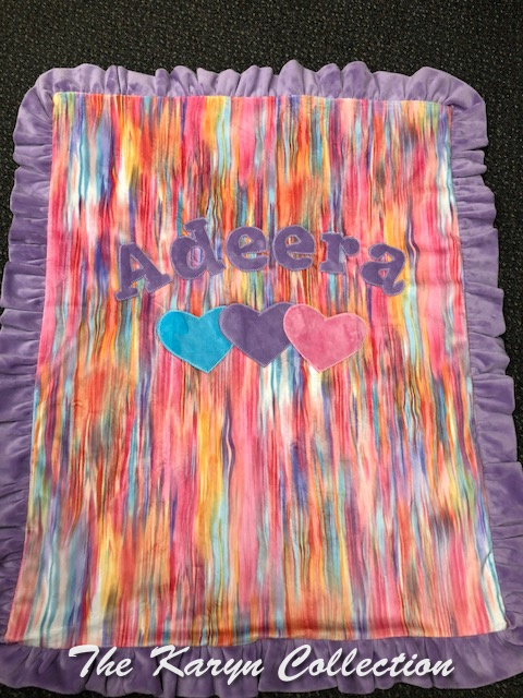 Adeera's Hearts Blanket on Our Watercolor MINKY