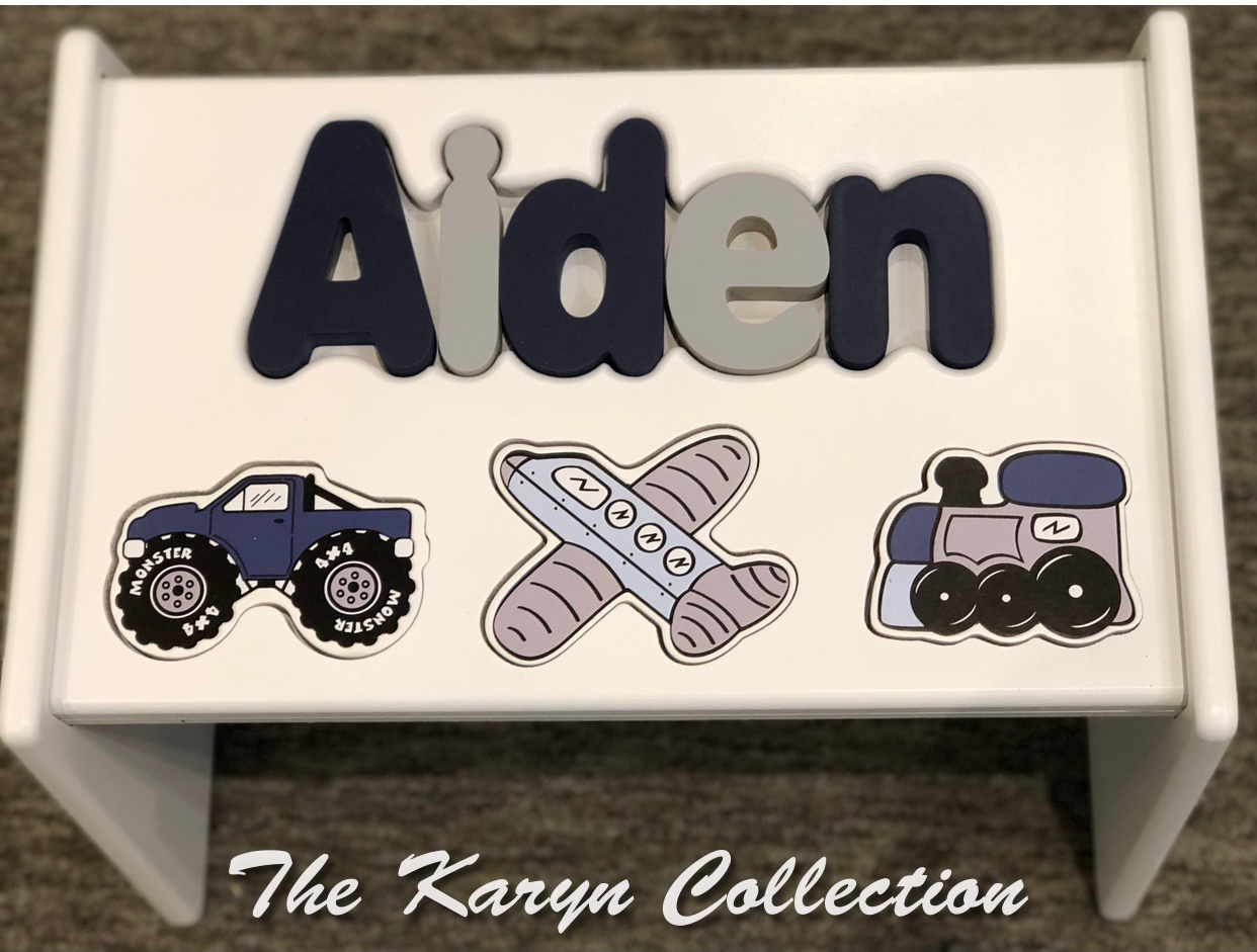 ,,New!!  Aiden's Transportation puzzle Stool