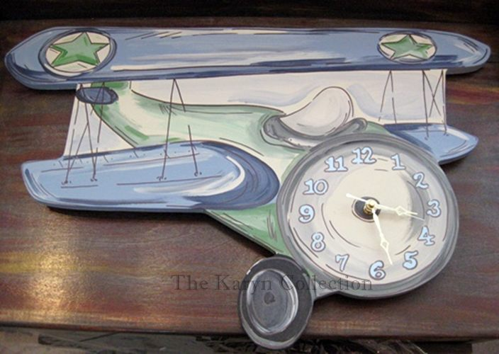 Blue & Green Retro Airplane Clock