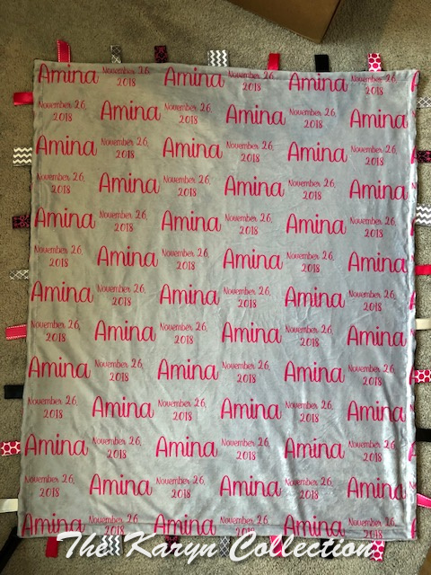 Amina's Taggie personalized blanket 30 x 36 WITH HER BIRTHDATE!!!