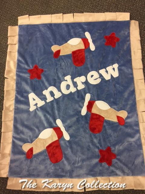 Andrew's Airplane Minky Blanket