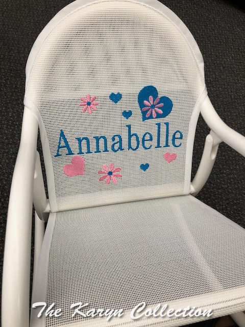 Annabelle's turquoise and pink hearts and daisies rocker