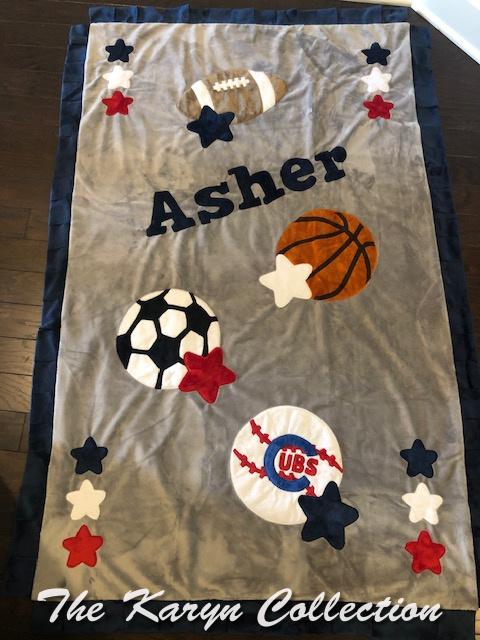 Asher's toddler sports team blanket