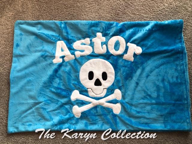 Astor's skull pillowcase
