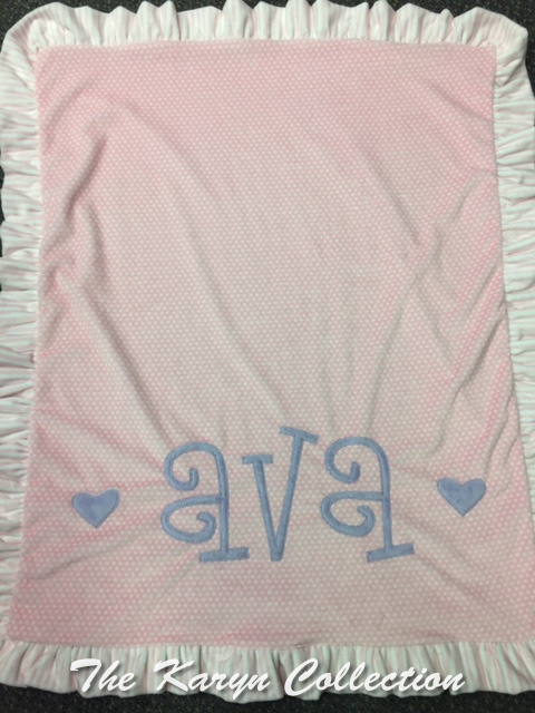 Ava's dots and hearts minky blanket- basic with curly letters