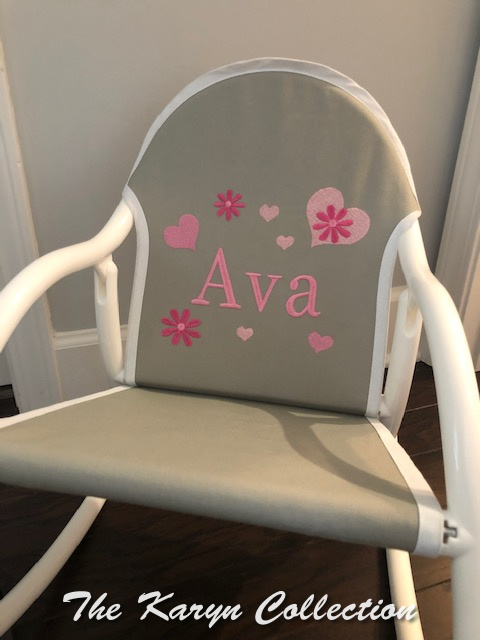 Ava's Hearts and Flowers Rocking Chair on gray canvass