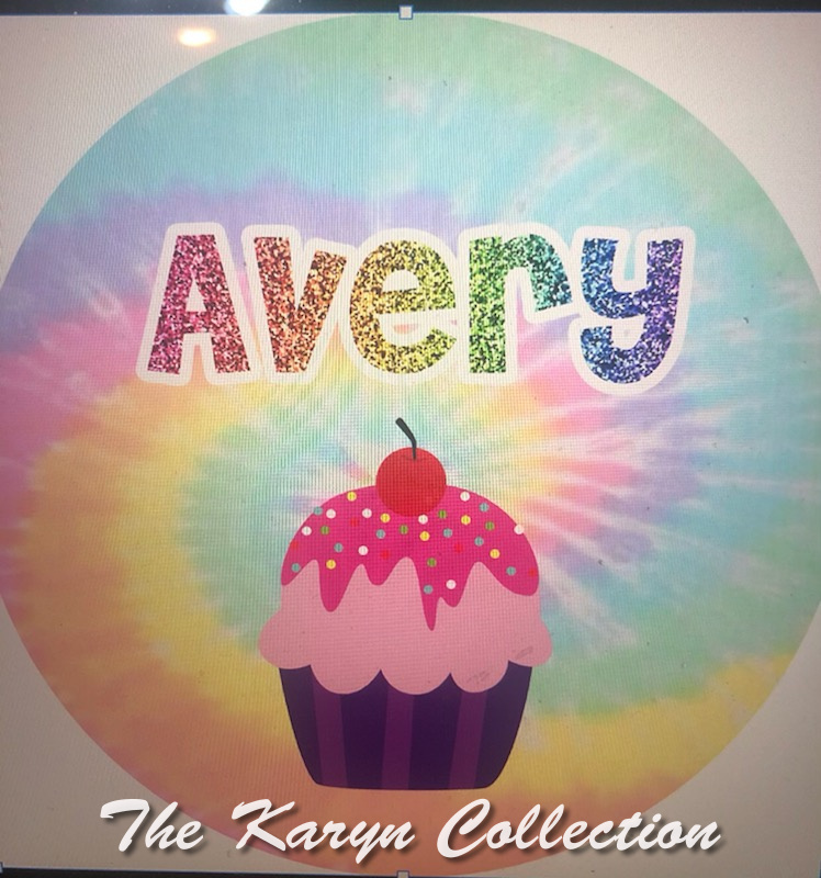 Avery's Cupcake Plate with tie dye background