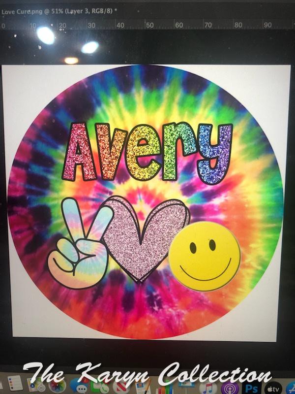 Avery's Tie-Dye Peace-hand,heart, happy face Plate Set