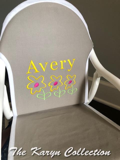 Avery's gray rocker with daisies
