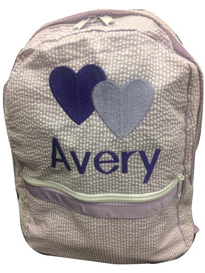 Avery's lavender seersucker  Back Pack