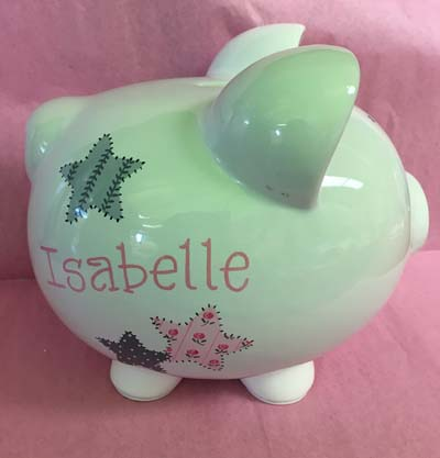 Isabelle's patchwork stars piggy bank