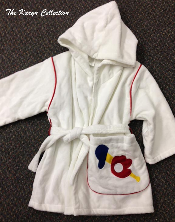 Monogrammed robe with baseball theme