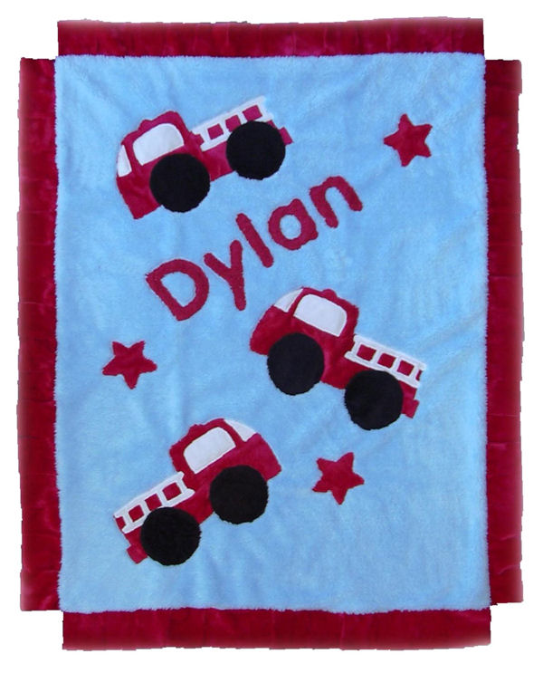 Fire Trucks Minky Blanket