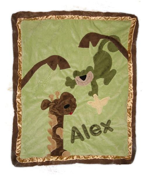 Green Monkey Business Minky Blanket