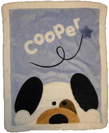 Blue Peek-A-Boo Puppy Minky Blanket