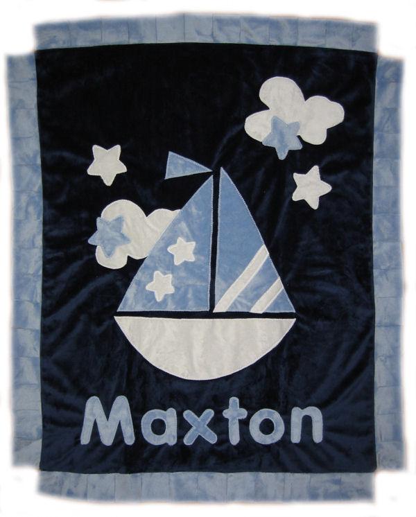 Sail Boat Minky Blanket