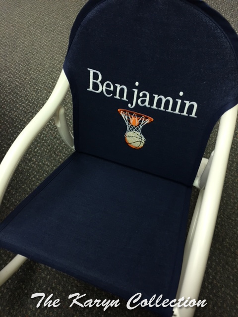 Benjamin's Basketball Rocking Chair on denim