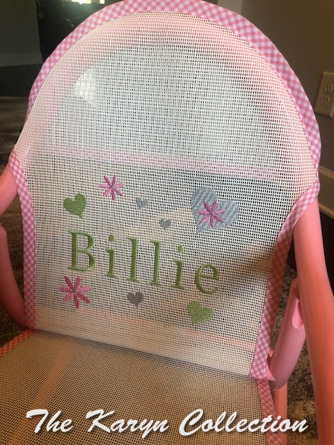 Billie's hearts and daisies rocker   on white mesh trimmed in pink gingham