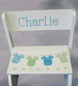 Blue & Green Wood Birth Information Flip Stool