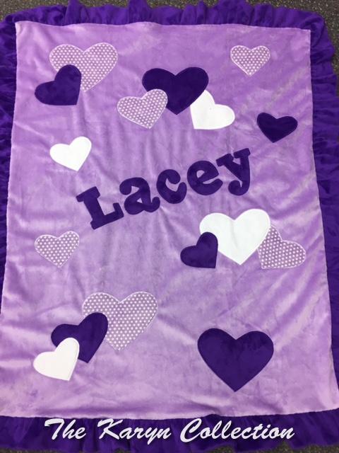 Lacey's Purple Hearts Minky Blanket