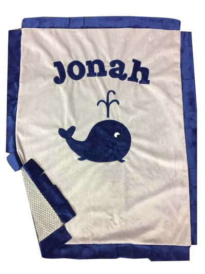 Basic blanket- Jonah and his whale in gray and navy