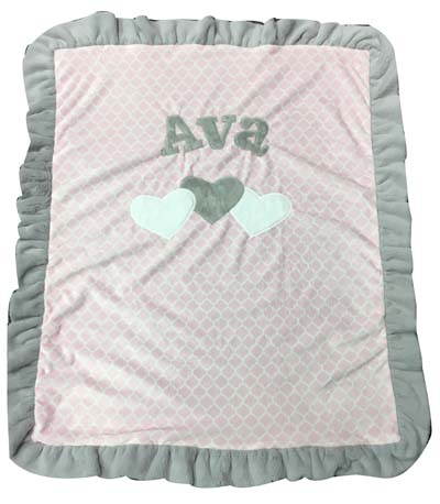 Basic 3 heart blanket on pink trellis fabric for Ava