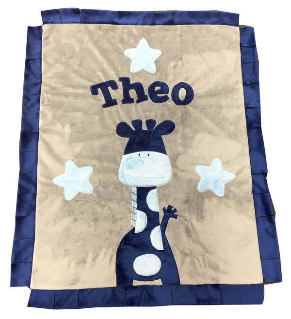 Theo's shades of blue on gray giraffe blanket