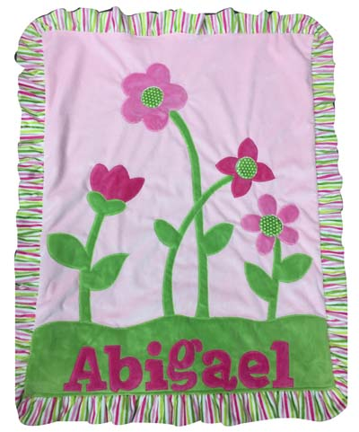 Abigail's pinks with green petals blanket