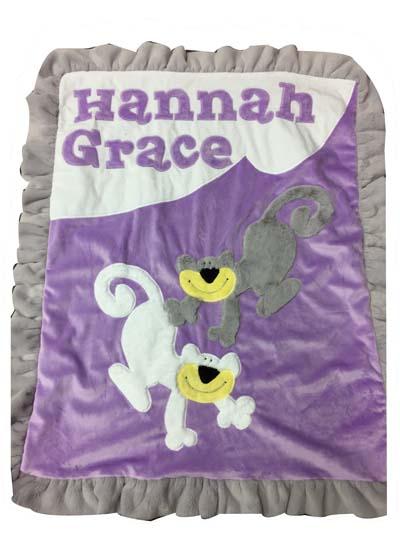 "Hannah Grace""s blanket.... with 2 furry monkeys"