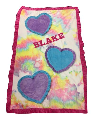Blake's 3D hearts tie dye toddler blanket