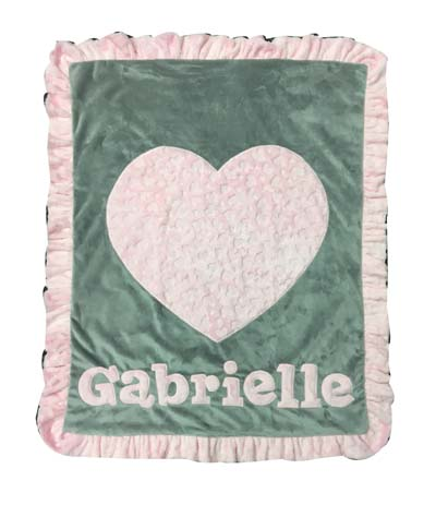 Gabrielle's jumbo heart minky blanket
