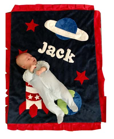 Baby Jack LOVES his SPACE blanket!!
