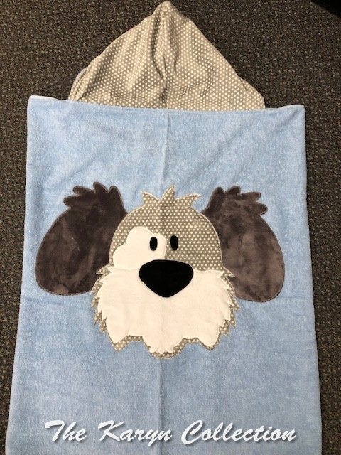 "Blue and Gray ""My Dog Spot"" Toddler Towel"